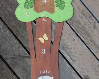 WOODLAND FAIMLY TREE Wood Growth Chart - Original Hand Painted Keepsake - Baseboard Mount - 6' High