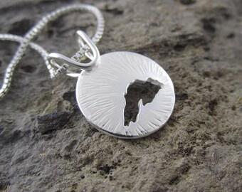 Handmade Radiating Greatness Lake Superior Sterling Silver Pendant