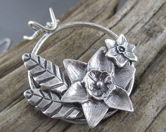 Handmade Wreathed in Blossoms Sterling Silver Pendant