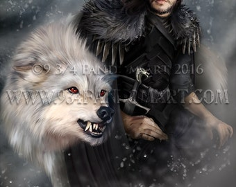 The Dire Snow... Fan Art Print - Inspired by Jon Snow of house Stark from Game of Thrones - GOT