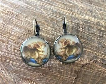 pomeranian earrings | dog jewelry, animal lover, dangle, brass