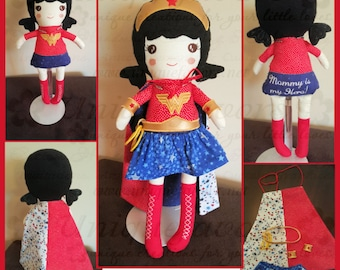 """Custom Handmade Superhero XL 18.5"""" or LG 15"""" Doll with accessories! Wonder Woman Inspired. Each is unique, one of a kind! Fully washable!"""