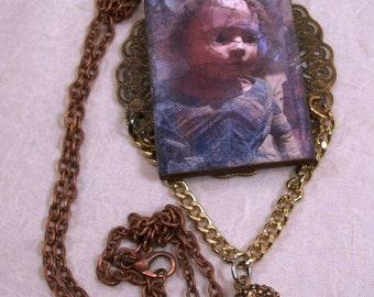 Sale Gothic Dark Noir Damaged Doll Baby Necklace Macabre Uncanny Grim Grisly Gruesome Ghastly Creepy Original Mixed Media Art Ships Free