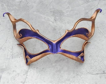 Purple Leather Mask - Pixie Cat Halloween Costume Masquerade