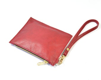 Mimi - Handmade Red Leather Clutch Bag Zip Pouch Purse SS16