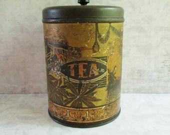 Vintage Gold and Black Tea Art Deco Tin