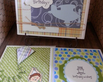 Birthday Notecards Handmade Bright and Fun Masculine Set of 3 On Sale