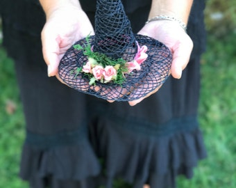 Witch Hat Fascinator, Witches Mini Hat, Nature Woodswitch