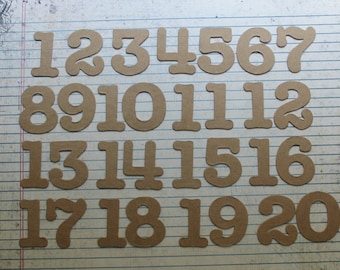 1 1/2 inch tall rounded SERIF style no. 2 chipboard numbers [choose quantity: plain or sticker]