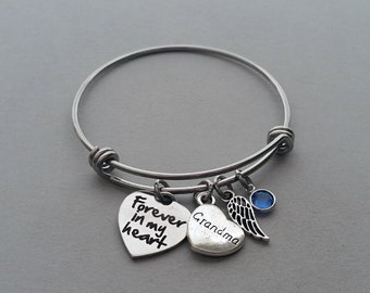 Forever In My Heart Bracelet, Grandma Memorial Bracelet, Grandmother Memorial Bracelet, Loss Of Grandma, Remembrance Charm, Stainless Steel