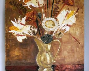 Vintage Oil Painting, Dried Flower Still Life, 1960s Original Art, Autumn Home Decor, Orange Brown Wall Hanging, Fine Art