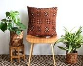 """20 inch African Mud Cloth, Brown Mudcloth, Natural Linen Pillow, 20"""" x 20"""", Rose Gold Zipper, Boho Style, Bogolan Fabric, Mudcloth Pillow"""