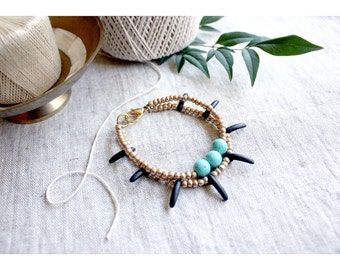 Turquoise Beaded Bracelet, Matte Gold Bracelet, Stacking Bracelet, Beaded Friendship Bracelet, Boho Luxe, Matte Black Beads