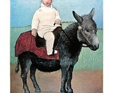 Paulo on a Donkey - Picasso Reproduction Print - 1980 Vintage Book Page - Fine Art Print - Wall Decor - For Framing - 9 x 11