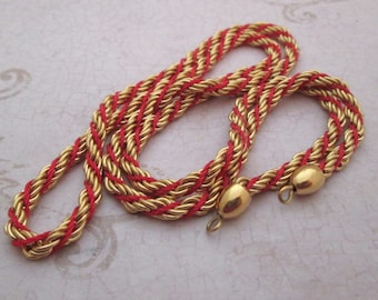 Vintage Brass Chain, red and gold chain, red chain, gold chain necklace, Brass Plated Gold Metal Chain, long gold necklace, long gold chain