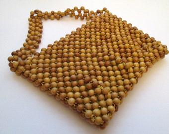 Vintage Wooden Bead Bag, bohemian bag, brown wood bead bag, boho bead bag, hippie bag, zippered wood bead purse, wooden bag, retro