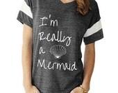 I'm Really a Mermaid boho slouchy Powder Puff t shirt tshirt screenprint ladies scoop top