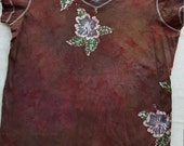 XXL Women's fitted flower batik shirt v-neck 2xl