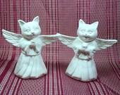 Unpainted Bisque - Cat Angels -Handmade Ceramic