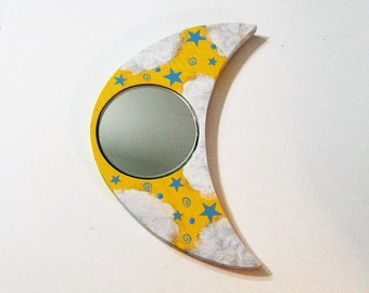 Large Moon Mirror Beveled Glass