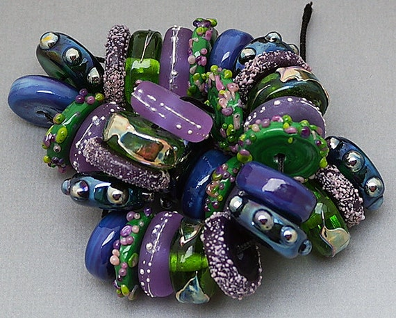 Glass Beads Lampwork Beads Handmade Lampwork Patterned Colorful Beads Jewelry Supplies Beaded Bracelet Bead Discs Necklace Debbie Sanders