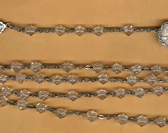 vintage STERLING rosary beads heavy crystal very long ornate medal clear sparkle over NINETEEN inches long sterling cross and wire