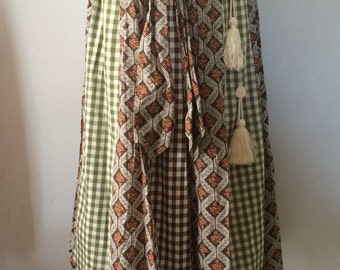 Chessa Davis Hippie Boho Patchwork Skirt Amazing Clay Buttons and Large Tassels 26 Inch Waist Small