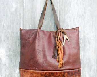 RESERVED for Erin Large Leather Tote bag in Bison and Marbled Leather with Tassel, Deer Antler, and Knotted Fringe by Stacy leigh