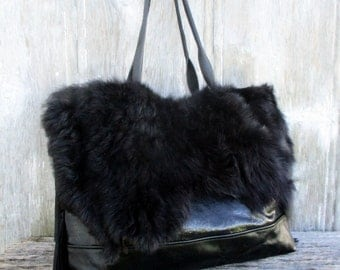 Black Leather Tote Bag in Sparkly Stingray Long Shearling by Stacy Leigh