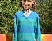 80s vintage sweater GOLF v-neck teal stripe preppy Medium Large soft 80s
