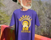 vintage 80s t-shirt HASKELL university fighting indians nations native american tee XL xxl 2x 90s