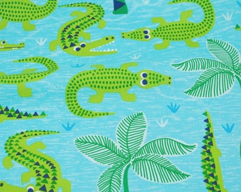 Everglades in Blue - See You Later Collection by Maude Asbury for Blend Fabrics - alligator fabric by the quarter yard