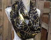 Spiderweb Halloween scarves, Black and gold Scarf, Spider scarf, spooky scarves, Women's Scarf, Teen scarf