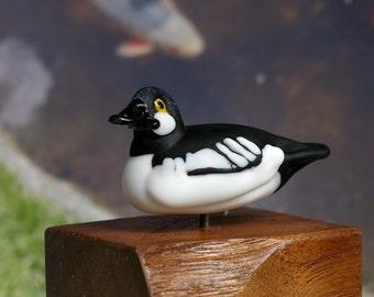 Common Goldeneye duck lampwork glass sculpture by Cleo Dunsmore Buchanan 1 figurine collectible wildlife art