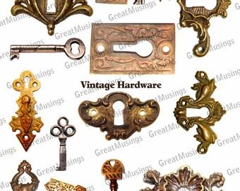 Escutcheon Vintage Hardware Skeleton Keys Digital Download Collage Sheet efile uprint Images Graphics No.310