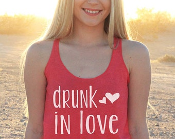Small Bridal Tank Top, Bridesmaid Tank Top, Bachelorette Party Tank Top, Drunk In Love, Red Tank Top, Size S --65002-AV08-606