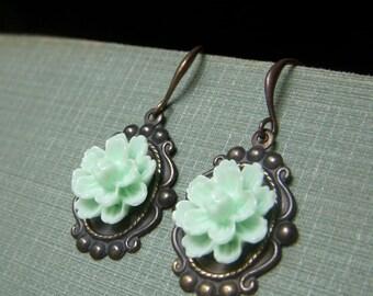 Green Floral Earrings, Brass Dangles, Mint Green Simple Flower Dangles, Pale Green Flower Earrings, Vintage Inspired Floral Earrings