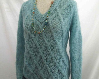 Cable Knit V neck pullover 60s Baby Blue mohair sweater Made in Italy Vintage Mohair sweater wool fuzzy pullover S M
