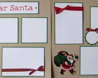 12x12 Premade Scrapbook Pages - ChRiSTMaS layout -- DEAR SANTA -- boy girl, visiting Santa, Christmas list photos, writing a letter to Santa