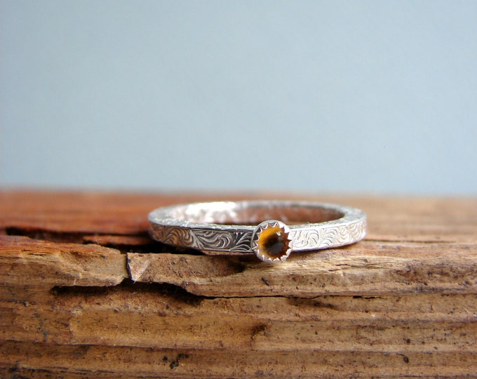Gemstone Stacking Ring Citrine November Birthstone Sterling Silver Wave Pattern Gifts for her