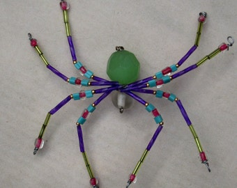 Purple and Green Spider Ornament Sun catcher