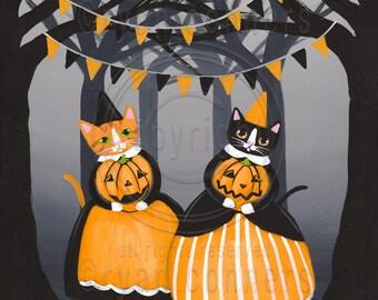 The Pumpkin Carvers Halloween Whimsical Cat Original Folk Art Painting