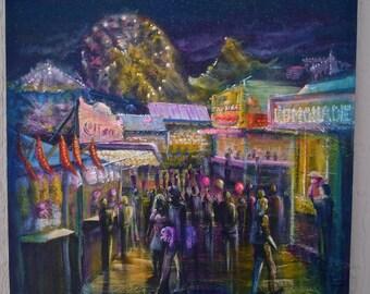 """18""""x18"""" Original acrylic on canvas. """"Evening at the fair"""""""