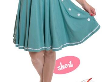 BETTY_29 6-Button circle skirt DUSTY MINT