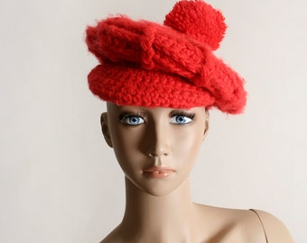 Vintage Knit Tam Hat - Bright Cherry Red Crochet Pom Pom Beret Hat