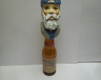 OOAK Handcarved Wood Old Time Baseball Player Bottle Stopper