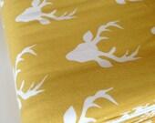 Hello Bear KNIT fabric, Baby Leggings fabric, Toddler Leggings Fabric, Art Gallery, Headband fabric, Stretch fabric- Buck Forest Mustard