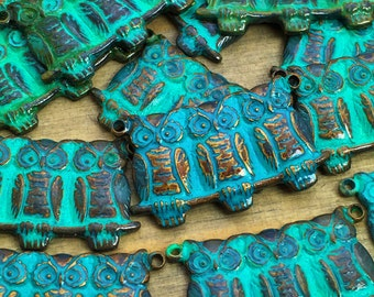Owl Charms - 6 pcs - Large Lot Patina Owl Charms - Brass Hootie Owl Trio Charms - Teal - Verdigris - Owl Connector Charms - Patina Queen