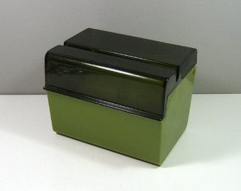 Rubbermaid Olive Green Plastic Recipe Box 1970s