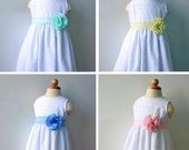 White Eyelet Cotton Flower Girl Dress, custom sash color available